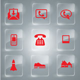 Red Vector Icon Set. Glass icons set vector Illustration.mail,phone Stock Photography