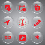 Red Vector Icons Set Royalty Free Stock Image