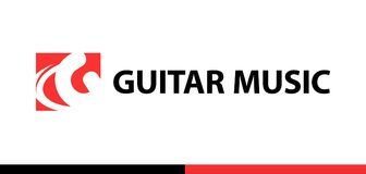 Red vector logo for Guitar shop, school, music studio. Logo for Guitar shop, school, music studio. Red vector emblem for Music company Royalty Free Stock Image