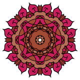 Red vector mandala. Isolated round element. Royalty Free Stock Photography