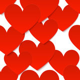 Red vector paper hearts at white background Stock Photos
