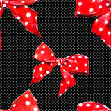 Red vector pattern bow with polka dot.  Vector. Stock Photography