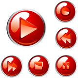 Red vector player buttons Royalty Free Stock Photo