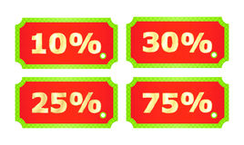 Red vector price. Tags with texture and green stroke, golden numbers with percentages of 10% 25% 30 % 75 Royalty Free Stock Image