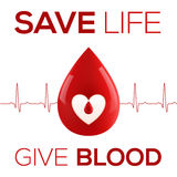 Red vector realistic drop with cardiogram and sign Save Life Give Blood. Red vector realistic blood drop with cardiogram and sign - Save Life Give Blood Royalty Free Stock Photo