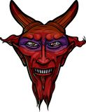 Red anxious devil head with horns. Royalty Free Stock Images