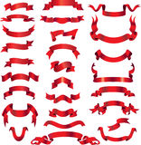 Red vector ribbons on banners Stock Photography