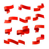 Red vector ribbons. Stock Photo
