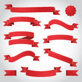 Red Vector Ribbons Set. Red curling ribbons and banner vector illustration Royalty Free Stock Photo