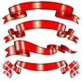 Red vector ribbons set with a stripe for your design project Stock Photos