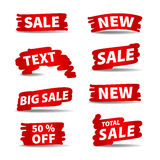 Red vector sale labels. With gradient and with brush shape Stock Photo