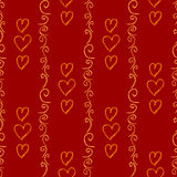 Red vector seamless background with hand-drawn hearts. Royalty Free Stock Photos