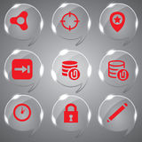 Red Vector Set. Red Icons Set Vector In Glass For Design you web Royalty Free Stock Photography
