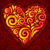 Red vector shining heart on ornate background. Red vector shining heart in Hohloma style on ornate e background royalty free illustration