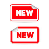 Red Vector Stickers - Labels with New Title Royalty Free Stock Photo