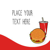 Red vector template with burger and red soda cup for fast food business. Isometric cartoon style with text royalty free illustration