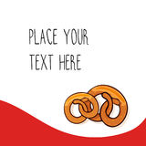 Red vector template with  pretzels for fast food business. Red vector template with two delicious pretzels for fast food business. Cartoon style with text Royalty Free Stock Photos