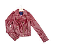 Red Vegan Leather Jacket #2 Royalty Free Stock Photo