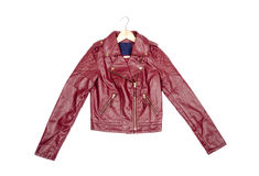 Red Vegan Leather Jacket #1 Stock Image