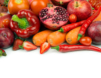 Red vegetable and fruit. Variety of red vegetable and fruit with copy space Stock Images