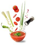 Red vegetable soup isolated stock photos