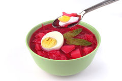 Red vegetable soup over white Royalty Free Stock Photo