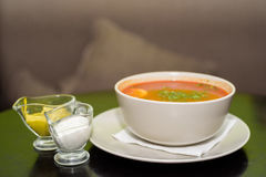Red vegetable soup in restaurant Royalty Free Stock Photography