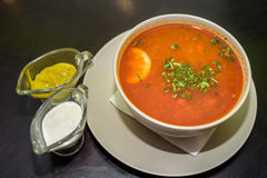 Red vegetable soup in restaurant Royalty Free Stock Photo