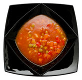 Red vegetable soup, top view Royalty Free Stock Photos