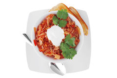 Red vegetable soup in white bowl Royalty Free Stock Photography