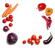 Red vegetables isolated on white top view. Vegetable frame or background royalty free stock photos