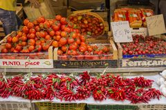 Red  vegetables  for sale stock photo