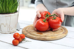 Red vegetables, tomatoes in the kitchen Royalty Free Stock Images