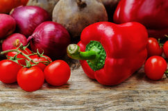 Red vegetables. tomatoes; onion; carrot; radish; pepper; beets. Red vegetables on a wood background. the toning. selective focus Stock Image