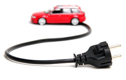Red vehicle with cable Stock Photography