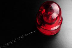 Red Vehicle Police Strobe Rotating Warning  Emergency Beacon Fla. Magnetic Mounted Red Vehicle Police Strobe Rotating Flash Warning Light Beacon Flashing Royalty Free Stock Photo