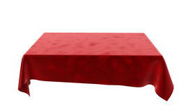 Red velor rectangular tablecloth for the table isolated on white. Red velor rectangular tablecloth for the table Stock Photos