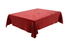 Red velor rectangular tablecloth for the table  on white. Red velor rectangular tablecloth for the table Royalty Free Stock Images