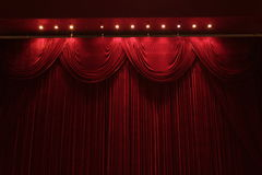 Red velvet. Theater stage with red velvet Stock Photography