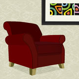 Red Velvet Armchair. Whimsical comfy overstuffed armchair with abstract painting. Chair can be used without background vector illustration