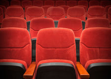 Red velvet armchairs in the empty auditorium Stock Images