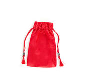 Red velvet bag isolated on white background Stock Photography