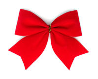 Red velvet bow. Royalty Free Stock Photos