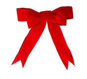 Red Velvet bow. And ribbon isolated on white Royalty Free Stock Photography