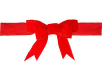 Red velvet bow. And ribbon isolated on white Stock Photos