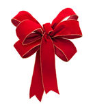 Red Velvet Bow isolated on white Stock Images