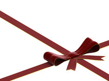 Red velvet bow and ribbon Stock Photography