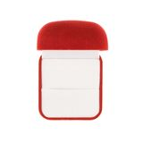 Red velvet box isolated. Red velvet box for the ring, opened, view above, isolated over the white background Royalty Free Stock Photo