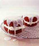 Red velvet cake. Heart shaped red velvet cake with vanilla frosting filling Royalty Free Stock Photos