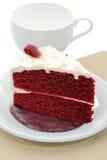 Red velvet cake. With tea Royalty Free Stock Photos